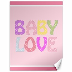 Pink Baby Love Text In Colorful Polka Dots Canvas 36  X 48