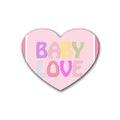 Pink Baby Love Text In Colorful Polka Dots Rubber Coaster (heart)