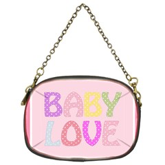 Pink Baby Love Text In Colorful Polka Dots Chain Purses (two Sides)