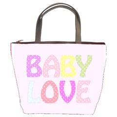 Pink Baby Love Text In Colorful Polka Dots Bucket Bags