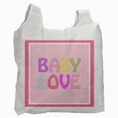 Pink Baby Love Text In Colorful Polka Dots Recycle Bag (two Side)