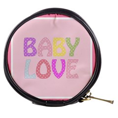 Pink Baby Love Text In Colorful Polka Dots Mini Makeup Bags