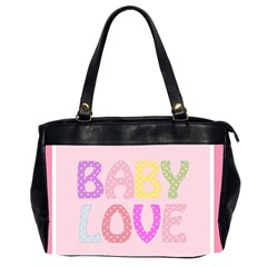 Pink Baby Love Text In Colorful Polka Dots Office Handbags (2 Sides)