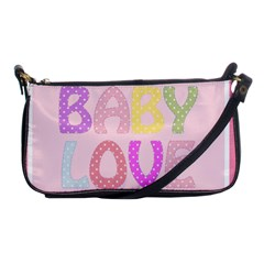 Pink Baby Love Text In Colorful Polka Dots Shoulder Clutch Bags