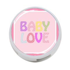 Pink Baby Love Text In Colorful Polka Dots 4 Port Usb Hub (one Side)