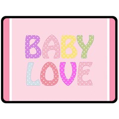 Pink Baby Love Text In Colorful Polka Dots Fleece Blanket (large)