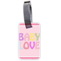 Pink Baby Love Text In Colorful Polka Dots Luggage Tags (two Sides)
