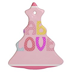 Pink Baby Love Text In Colorful Polka Dots Ornament (christmas Tree)