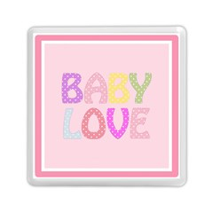 Pink Baby Love Text In Colorful Polka Dots Memory Card Reader (square)