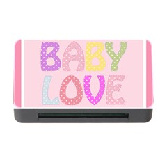 Pink Baby Love Text In Colorful Polka Dots Memory Card Reader with CF