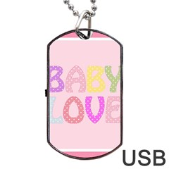 Pink Baby Love Text In Colorful Polka Dots Dog Tag Usb Flash (one Side)