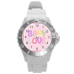 Pink Baby Love Text In Colorful Polka Dots Round Plastic Sport Watch (L)