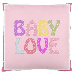 Pink Baby Love Text In Colorful Polka Dots Large Cushion Case (two Sides)