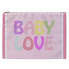 Pink Baby Love Text In Colorful Polka Dots Cosmetic Bag (XXL)