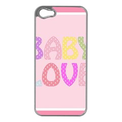 Pink Baby Love Text In Colorful Polka Dots Apple iPhone 5 Case (Silver)