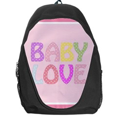 Pink Baby Love Text In Colorful Polka Dots Backpack Bag
