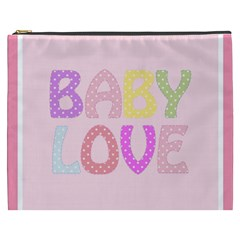 Pink Baby Love Text In Colorful Polka Dots Cosmetic Bag (XXXL)