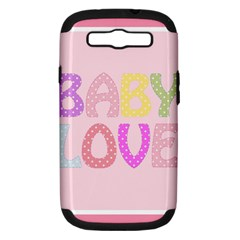 Pink Baby Love Text In Colorful Polka Dots Samsung Galaxy S Iii Hardshell Case (pc+silicone)