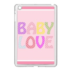 Pink Baby Love Text In Colorful Polka Dots Apple iPad Mini Case (White)