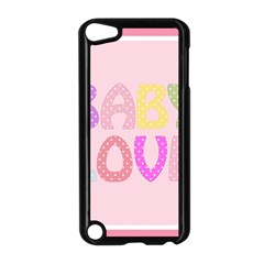 Pink Baby Love Text In Colorful Polka Dots Apple iPod Touch 5 Case (Black)