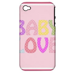 Pink Baby Love Text In Colorful Polka Dots Apple iPhone 4/4S Hardshell Case (PC+Silicone)