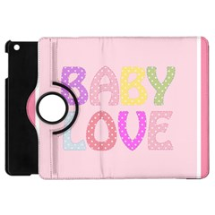 Pink Baby Love Text In Colorful Polka Dots Apple iPad Mini Flip 360 Case