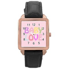 Pink Baby Love Text In Colorful Polka Dots Rose Gold Leather Watch