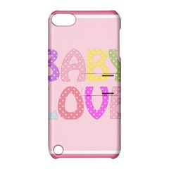 Pink Baby Love Text In Colorful Polka Dots Apple iPod Touch 5 Hardshell Case with Stand