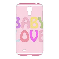 Pink Baby Love Text In Colorful Polka Dots Samsung Galaxy S4 I9500/i9505 Hardshell Case