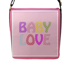 Pink Baby Love Text In Colorful Polka Dots Flap Messenger Bag (l)
