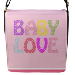 Pink Baby Love Text In Colorful Polka Dots Flap Messenger Bag (S)