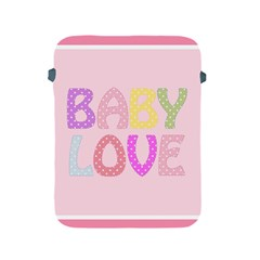 Pink Baby Love Text In Colorful Polka Dots Apple iPad 2/3/4 Protective Soft Cases