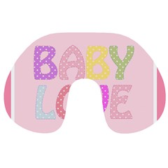 Pink Baby Love Text In Colorful Polka Dots Travel Neck Pillows
