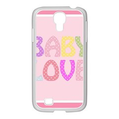 Pink Baby Love Text In Colorful Polka Dots Samsung GALAXY S4 I9500/ I9505 Case (White)