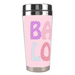 Pink Baby Love Text In Colorful Polka Dots Stainless Steel Travel Tumblers