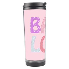 Pink Baby Love Text In Colorful Polka Dots Travel Tumbler
