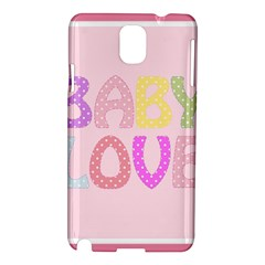 Pink Baby Love Text In Colorful Polka Dots Samsung Galaxy Note 3 N9005 Hardshell Case