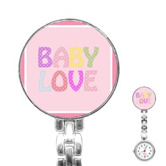 Pink Baby Love Text In Colorful Polka Dots Stainless Steel Nurses Watch