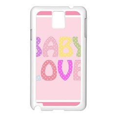 Pink Baby Love Text In Colorful Polka Dots Samsung Galaxy Note 3 N9005 Case (White)