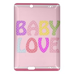 Pink Baby Love Text In Colorful Polka Dots Amazon Kindle Fire HD (2013) Hardshell Case