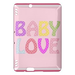 Pink Baby Love Text In Colorful Polka Dots Kindle Fire HDX Hardshell Case