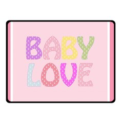 Pink Baby Love Text In Colorful Polka Dots Double Sided Fleece Blanket (Small)