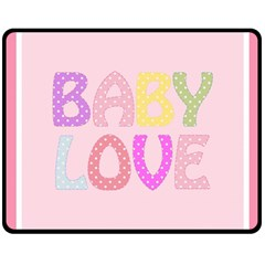 Pink Baby Love Text In Colorful Polka Dots Double Sided Fleece Blanket (Medium)