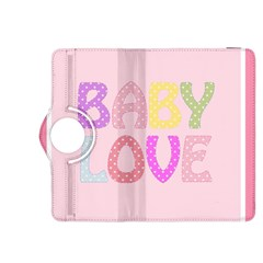 Pink Baby Love Text In Colorful Polka Dots Kindle Fire HDX 8.9  Flip 360 Case