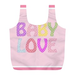 Pink Baby Love Text In Colorful Polka Dots Full Print Recycle Bags (L)