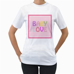 Pink Baby Love Text In Colorful Polka Dots Women s T-Shirt (White)