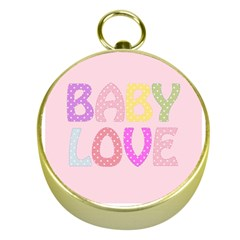 Pink Baby Love Text In Colorful Polka Dots Gold Compasses