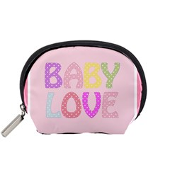 Pink Baby Love Text In Colorful Polka Dots Accessory Pouches (Small)