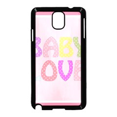 Pink Baby Love Text In Colorful Polka Dots Samsung Galaxy Note 3 Neo Hardshell Case (Black)