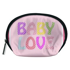 Pink Baby Love Text In Colorful Polka Dots Accessory Pouches (medium)
